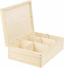 Vollholz Kiste 6 Unterteilungen 22,5 x 16,5 x 8 cm