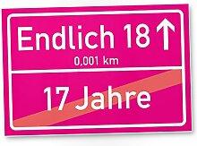 Volljährig (17 Jahre) Ortsschild rosa, Geschenk 18. Geburtstag bester Freund / Freundin, Geschenkidee Geburtstagsgeschenk zur Volljährigkeit, Kleines Geschenk 18er Geburtstagsparty