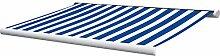 Vollkassettenmarkise Sunray 4 m in blau/weiß Markise Sonnenstore Beschattung Sonnenschutz Garten Gartenausstattung von Jet-Line
