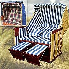 Volllieger Garten Strandkorb XL + winterfeste Strankorbhülle + 4x Kissen - blau-gestreift - naturfarbiges Polyrattan - Strandkorb Syl