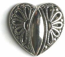 Vollmetallknopf Herz - Größe: 15mm - Farbe: altsilber