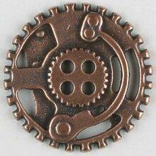 Vollmetallknopf Steampunk Zahnrad, 30mm - kupfer