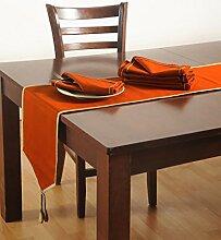 Volltonfarbe Läufer Und Servietten Set, Ente 100 % Baumwolle, Rnp07S-Ros