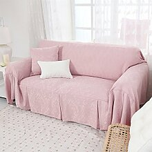 Volltonfarbe Sofabezug,Europ?ische jacquard sofa hussen sofa cover volle deckung m?bel protektor für 1 2 3 4 kissen sofa-Rosa 300x200cm(118x79inch)