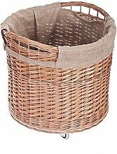 Vollweidener Kaminkorb, rund, Rollkorb aus Weide,