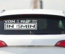 Von 0 auf 100 Autoaufkleber Shocker Aufkleber Design Auto Bike Sticker 2H383, Farbe:Schwarz Matt;Breite vom Motiv:100cm
