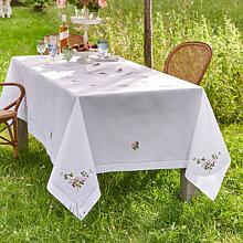 Von Hand bestickte Tischdecke mit farbfrohen
