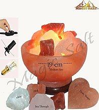Von Magic Salz â ® Himalaya-Salz natürlichen IONES Therapeutische Feuerschale Lampe 2,5–3,5kg mit 2handgefertigt Herz Form Chunks sind spezielle Dimmer Kabel & Hohe Finish Holz Fuß.