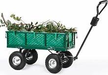 VonHaus Gelände Schwerlast-Gartentrolley Gartenwagen Handwagen Schubkarre– mit Lenkung, umklappbaren Seiten und Geländereifen