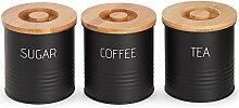 VonShef 3-teiliges Dosenset mit Bambus-Deckeln -