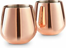 VonShef Doppelwandiges Weinglas Edelstahl Kupfer