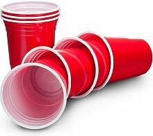 VonShef Ruby Rote Apfelrote Amerikanische Einweg-Partybecher Party Cups Beer Pong – 16oz (455ml) in 50er oder 100er. Packung (100er)