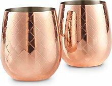 VonShef Weinglas Edelstahl geätzt Kupfer ohne