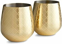 VonShef Weinglas Edelstahl Gold ohne Stiel 2 Stück