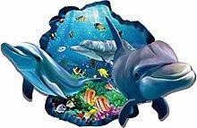 VORCOOL 3D Wandaufkleber Dolphin und Fisch