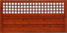 Vorgartenzaun Amsterdam 90 x 180 cm mit Gitter Holzzaun Teak