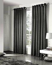 Vorhänge, Gardinen gesäumt, Vorhangpaare, Ritz, Jacquard, 165cm x 135cm, schwarz