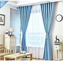 Vorhänge LINGZHIGAN Sternmusterisolierung Sonnenschutz-volle Schatten-Boden Schlafzimmer Verdunkelungs-vorgerückte Öse-Verdunklungs Wohnzimmer mit zwei zusammenpassenden Riegel-Rückseiten 2 Platten
