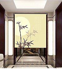 Vorhänge Pflanzen Bambus Vorhang Sonne Wind Schiebegardine Eingang Schrank Dekorativ Non-Teleskopstange,A-85*120CM