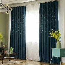 Vorhänge Schatten Vorhänge abgeschlossen undurchsichtig Sonnenschutz Leinen voller Schatten Vorhänge Tuch Isolierung Wohnzimmer Schlafzimmer Boden Fenster perforierte Vorhänge (Doppelplatten) (Größe: 300cm * 270cm) Gardinen ( größe : 150*270cm )