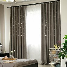 Vorhänge Schatten Vorhänge abgeschlossen undurchsichtig Sonnenschutz Leinen voller Schatten Vorhänge Tuch Isolierung Wohnzimmer Schlafzimmer Boden Fenster perforierte Vorhänge (Doppelplatten) (Größe: 300cm * 270cm) Gardinen ( größe : 200*270cm )