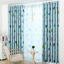 Vorhänge Yixin Polyester Material Pflanze Blumen Muster 2 Blöcke, 2 Farben, 15 Größen erhältlich (Farbe : Blau, Größe : 2*(1.5*2.5m))