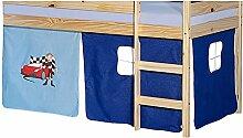 Vorhang Gardine Bettvorhang AUTO zu Hochbett Rutschbett Spielbett in hellblau/dunkelblau mit Automotiv