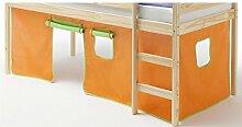 Vorhang Gardine Bettvorhang CLASSIC zu Hochbett Rutschbett Spielbett in grün/orange