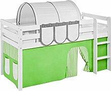 Vorhang Grün Beige - für Hochbett, Spielbett und