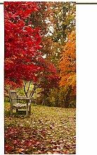 Vorhang Herbstlichtung mit Zugband, Blickdicht,