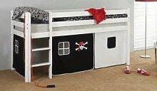 Vorhang Hochbett, Kinderbett Seemann/Pirat Stoff 3-teilig schwarz-weiß incl.Kebekle