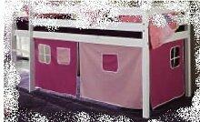 Vorhang Hochbett Kinderbett Stoff 3-teilig Pink,