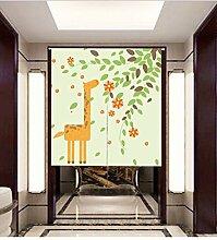 Vorhang Karikatur Tier Giraffe Halber Vorhang Sonnenschutz Windschutzscheibe Eingang Studie Vorhang Ohne Teleskopstange,D-85*120CM