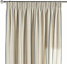 Vorhang mit Kräuselband, creme- blau, 130 × 260