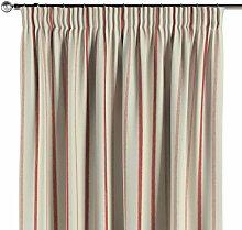 Vorhang mit Kräuselband, creme- rot, 130 × 260