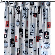 Vorhang mit Kräuselband, dunkelblau-rot, 1 Stck.