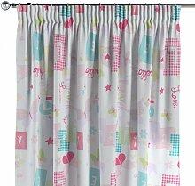 Vorhang mit Kräuselband, rosa-blau-weiß, 130 ×