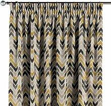 Vorhang mit Kräuselband, schwarz-beige-gelb, 130