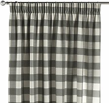 Vorhang mit Kräuselband, weiss-grau kariert, 130