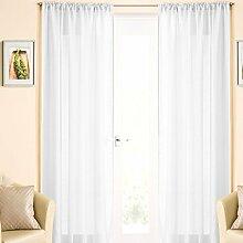 Vorhang-Panel, voile Spitze, Leinen Stil Vorhänge, Einzelplatte, 138cm x 229cm, weiß