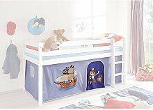 Vorhang Pirat 3-teilig 100% Baumwolle hellblau / blau Kinderzimmer Stoffvorhang inkl Klettband für Hochbett Kinderbett Spielbett Etagenbett S