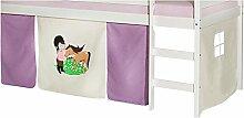 Vorhang PONY Gardine Bettvorhang zu Hochbett Rutschbett Spielbett in lila/beige