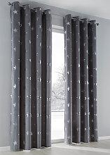 Vorhang Stars (1er-Pack), grau (H/B: 225/135 cm)