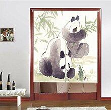 Vorhang Tier Panda Halb Vorhang Sonnenschutz Windschutzscheibe Staubdicht Vorhang Baumwolle Veranda Garderobe ,D-85*90CM