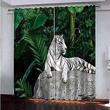 Vorhang Weiß Tiger Fenster 3D-Druck Blackout