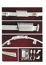 Vorhangschiene, flexibel, aus PVC–Farbe: Weiß, Komplettset, Länge: 300cm