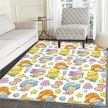 VORMOR Kinderzimmer-Teppich mit Vögeln, Blumen