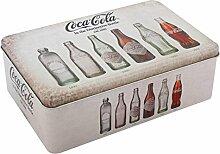 Vorrats Dose Coca Cola Vintage beige eckig Coke Metall Box B