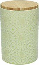 Vorratsdose AMIRA, 950 ml., 15 cm hoch, Keramik, limette-weiß, wundervoll gearbeitete Struktur, mit tollem Dekor von TOGNANA