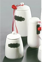 Vorratsdose Aromadose z. Beschriften Keramik creme 23cm